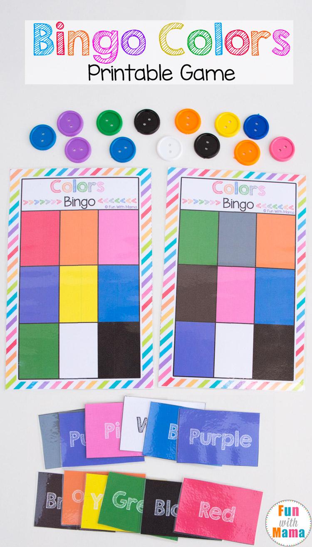 Printable Bingo Colors - Fun With Mama