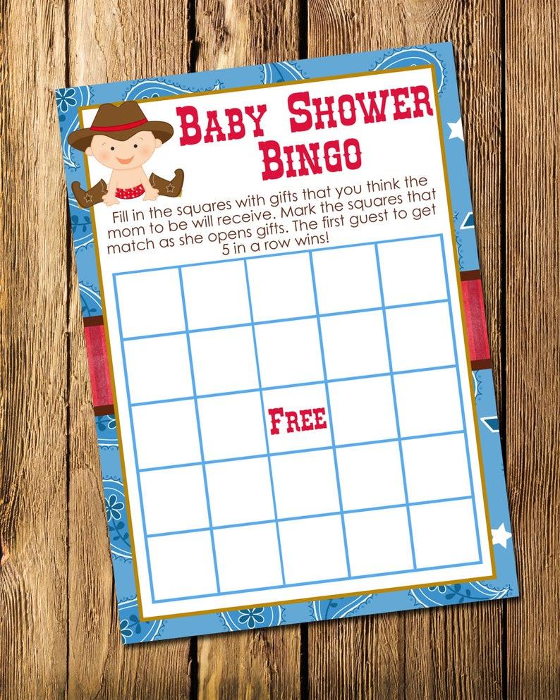 Printable Cowboy Boy Baby Shower Bingo Game - Instant Download