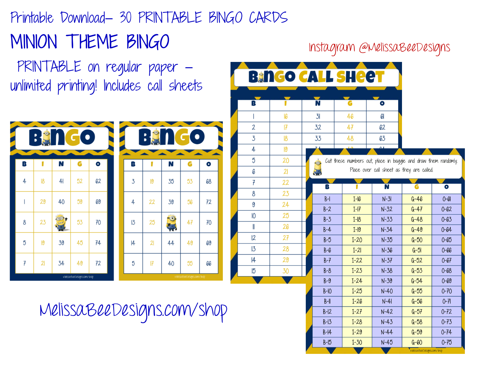 Printable Minion Bingo Cards – 30 Different Cards With Call