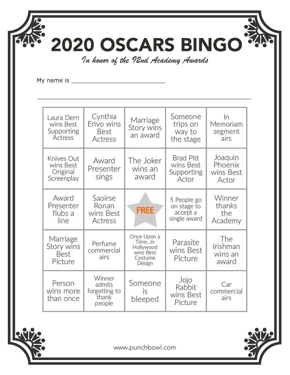 Printable Oscars Bingo In 2020 | Oscar Games