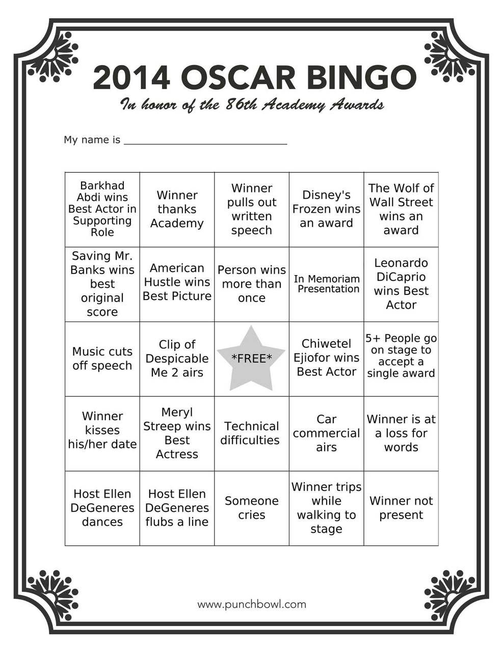 Printable Oscars Bingo In 2020 | Oscar Party, Hollywood