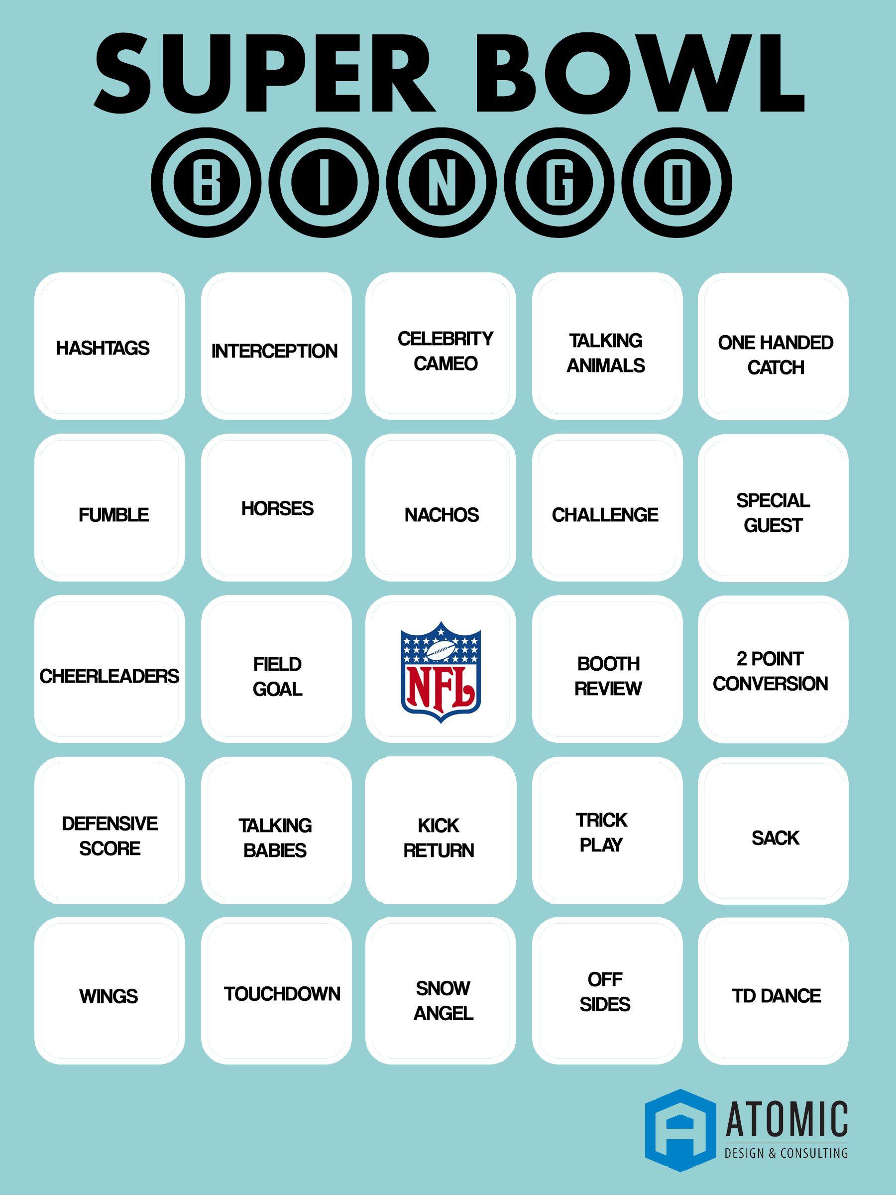 Printable Super Bowl Bingo! | Super Bowl Bingo, Superbowl