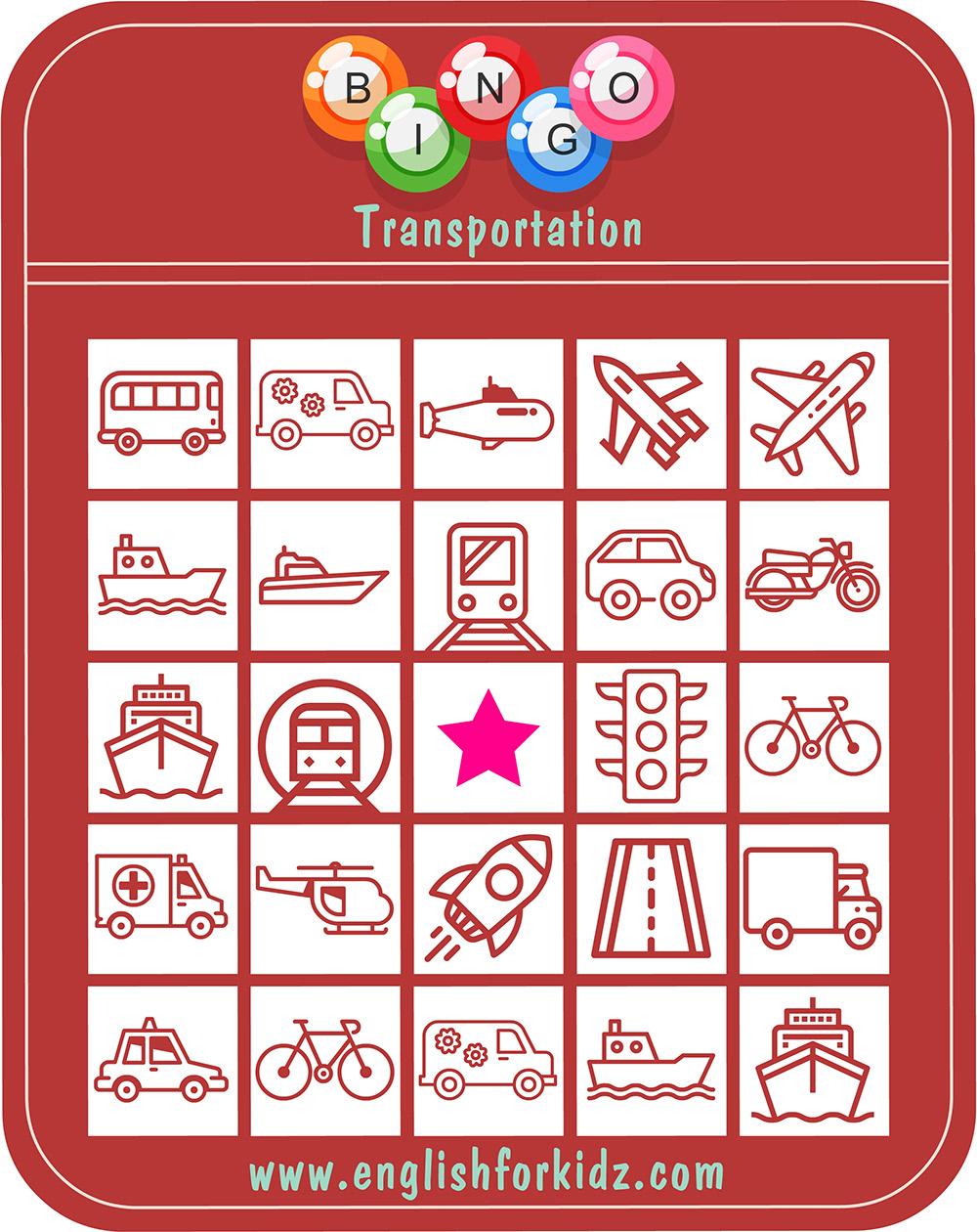 Printable Transportation Bingo Game