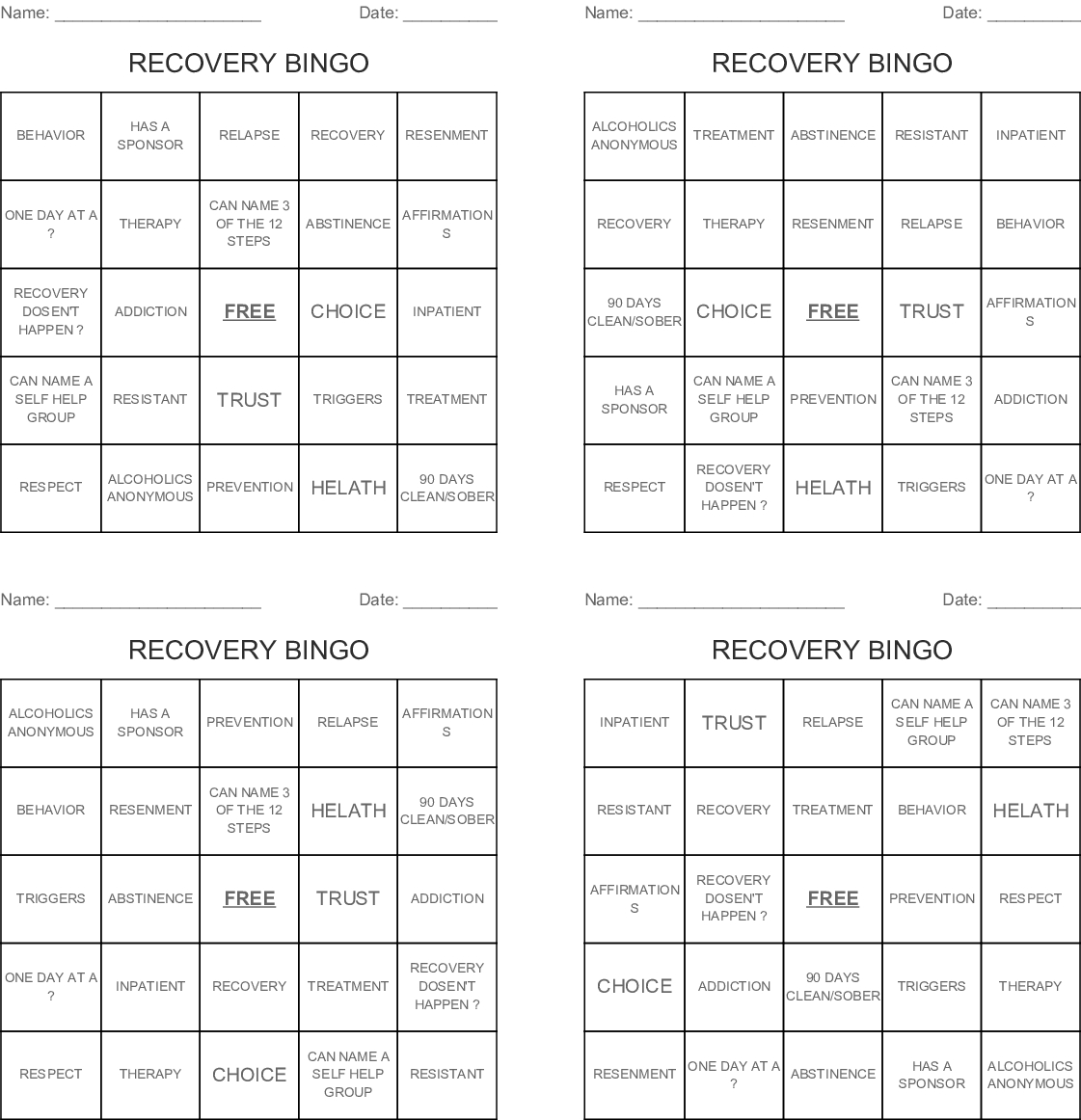 Recovery Bingo Cards - Wordmint