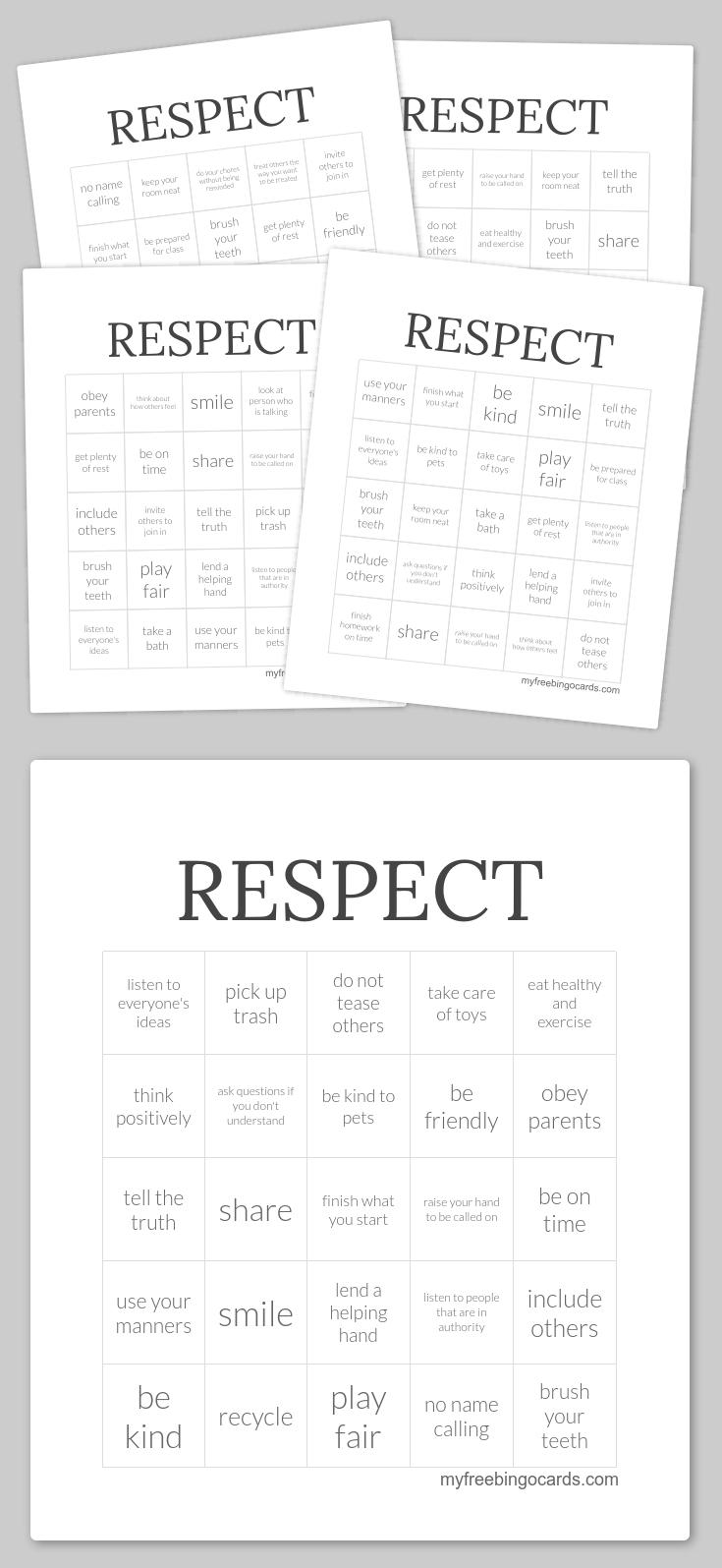 Respect Bingo | Bingo Cards Printable, Bingo Printable