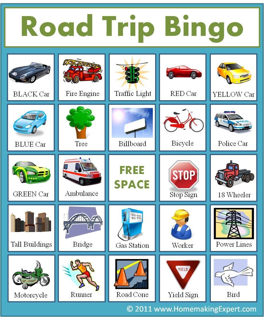 Road Trip Bingo   Auto Spel, Vakantie Spelletjes, Vakantie