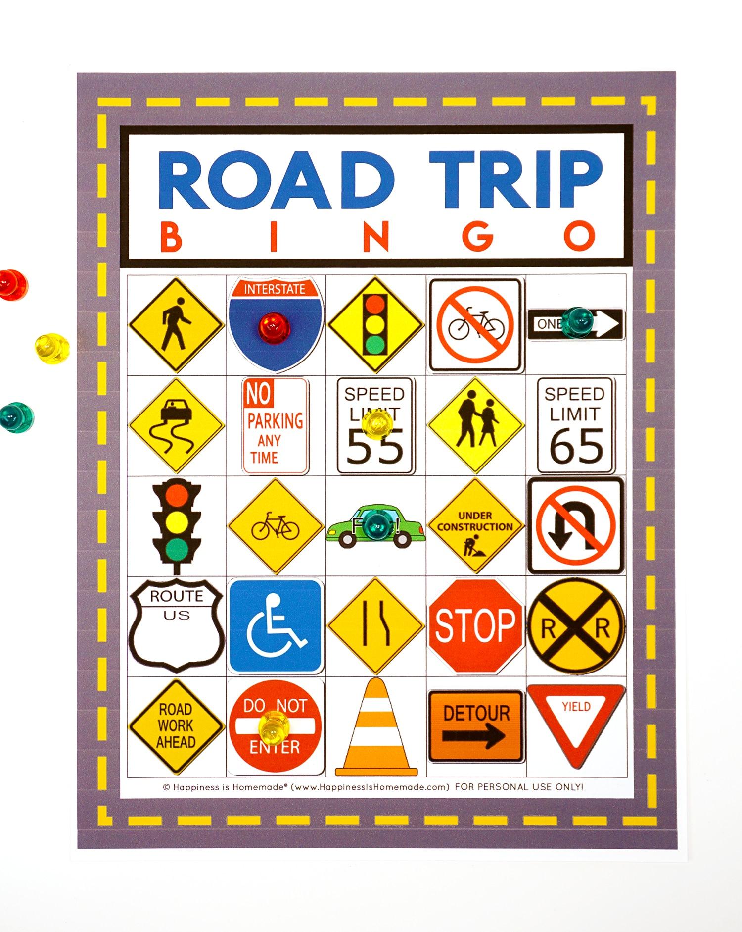 Road Trip Bingo Game - Free Printable - Happiness Is Homemade