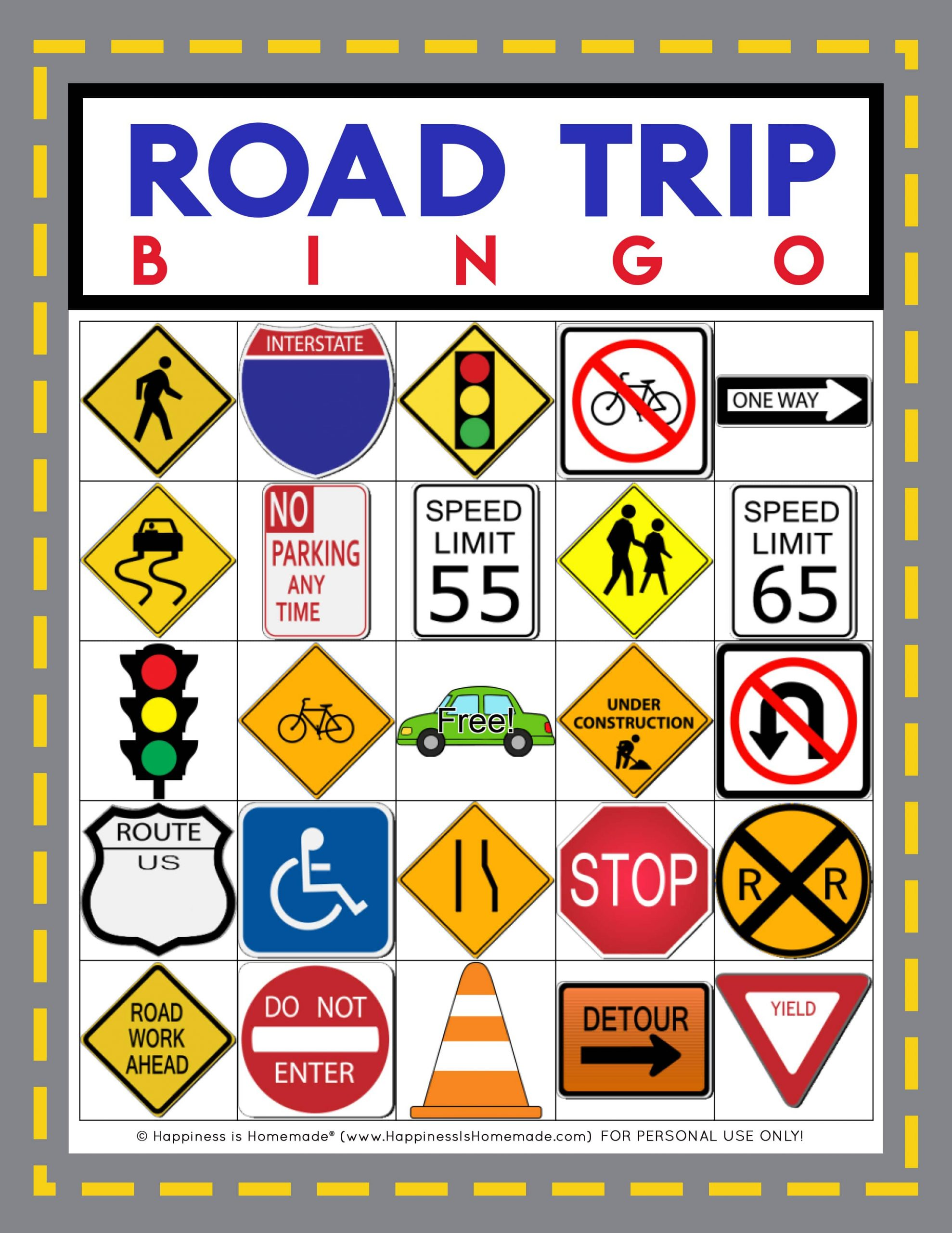 Road Trip Bingo Game - Free Printable - Happiness Is Homemade