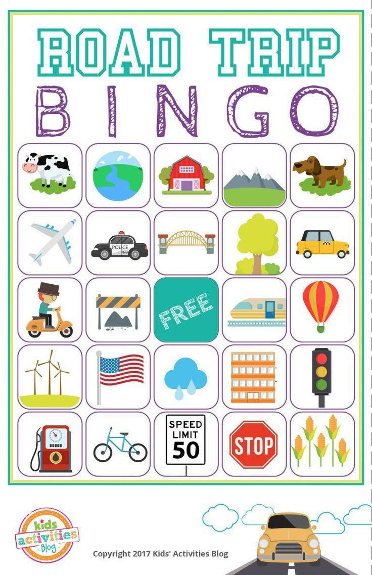 Road Trip Bingo Printable Game - Free Download Of 6 Travel