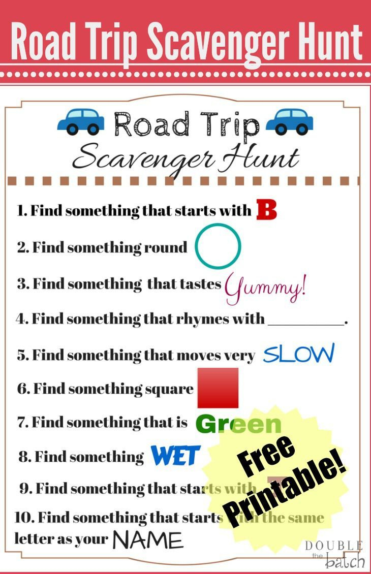 Road Trip Scavenger Hunt - Funny Scavenger Hunt Ideas | Road