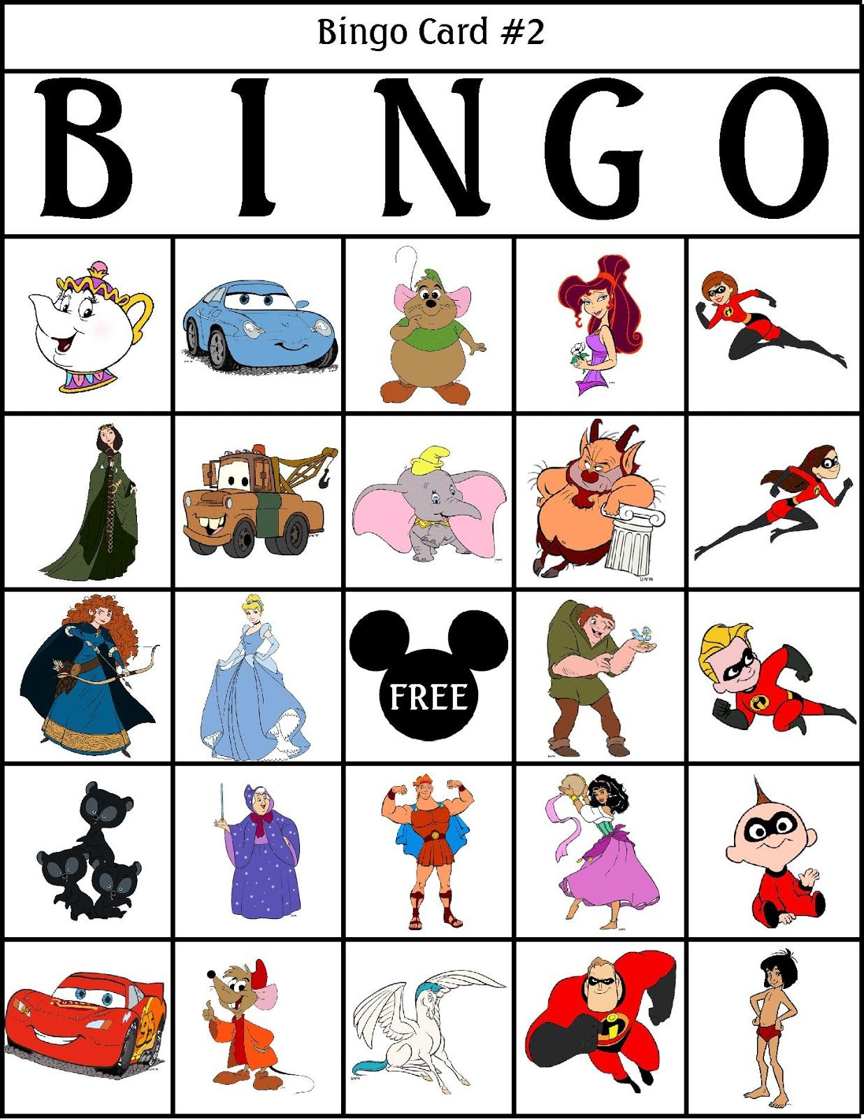 Robbygurl's Creations: Printable Disney Bingo Cards! Tons Of
