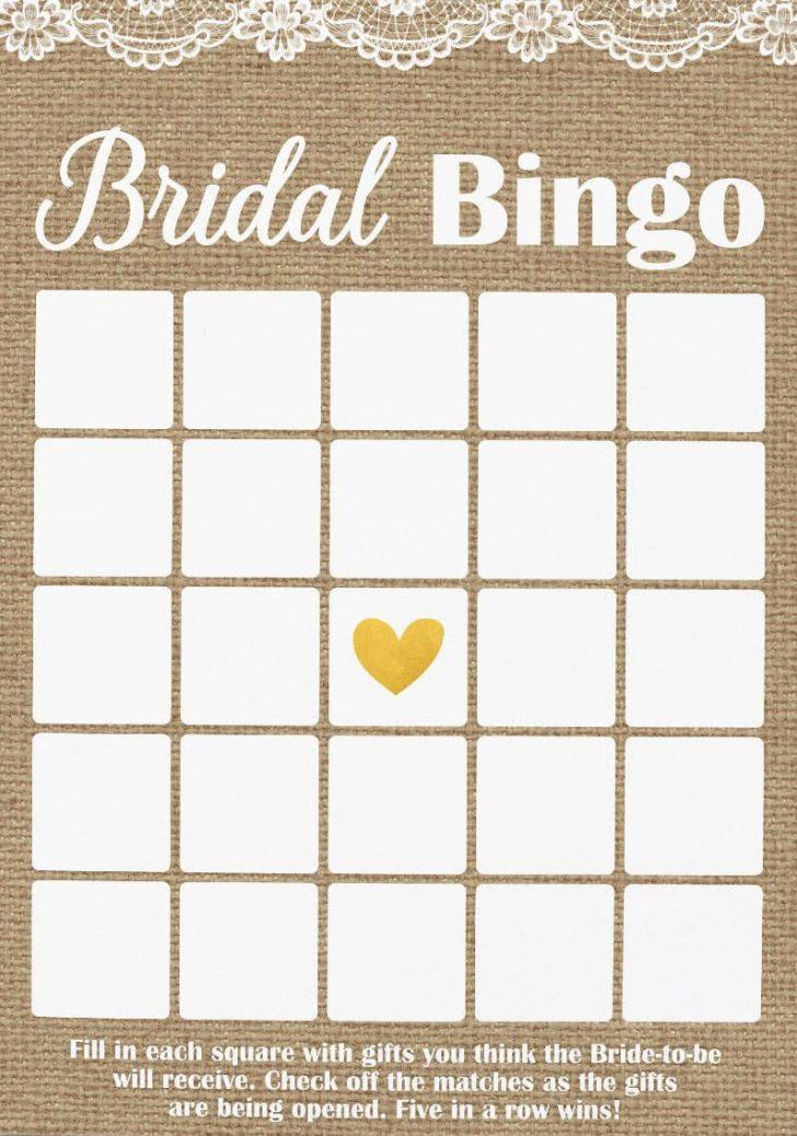 Free Printable Blank Bridal Shower Bingo Cards 4 Per Page