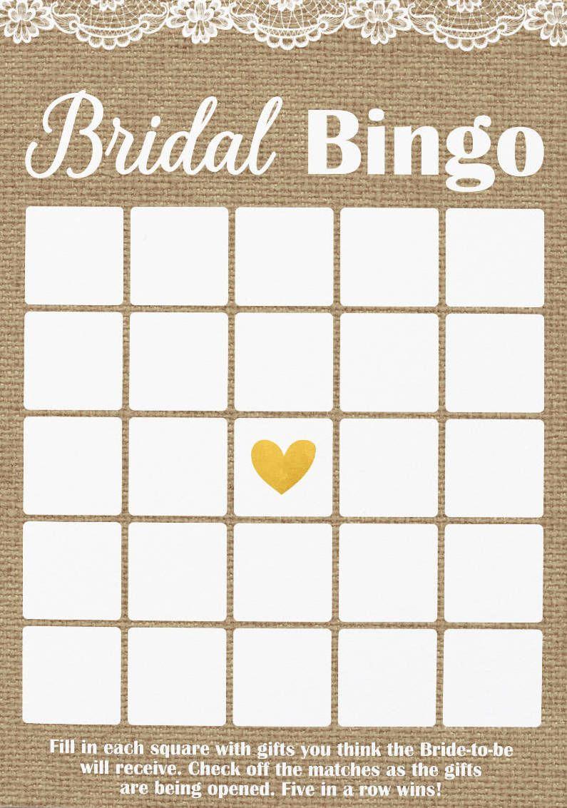 Rustic Bridal Shower Bingo, Burlap And Lace Bingo, Printable