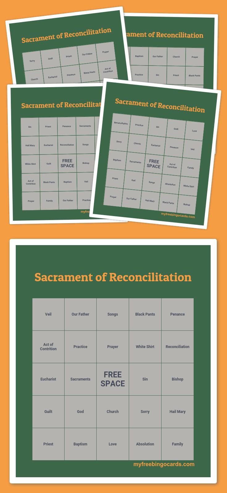 Sacrament Of Reconcilitation Bingo | Bingo Cards Printable