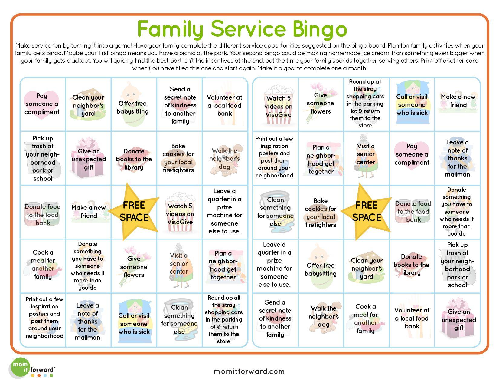 Service Bingo Card Printable | Bingo Cards, Kindness For
