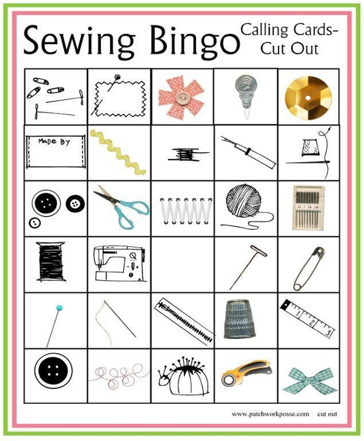 Sewing Bingo Board Game Printable | Craftsy | Bingo