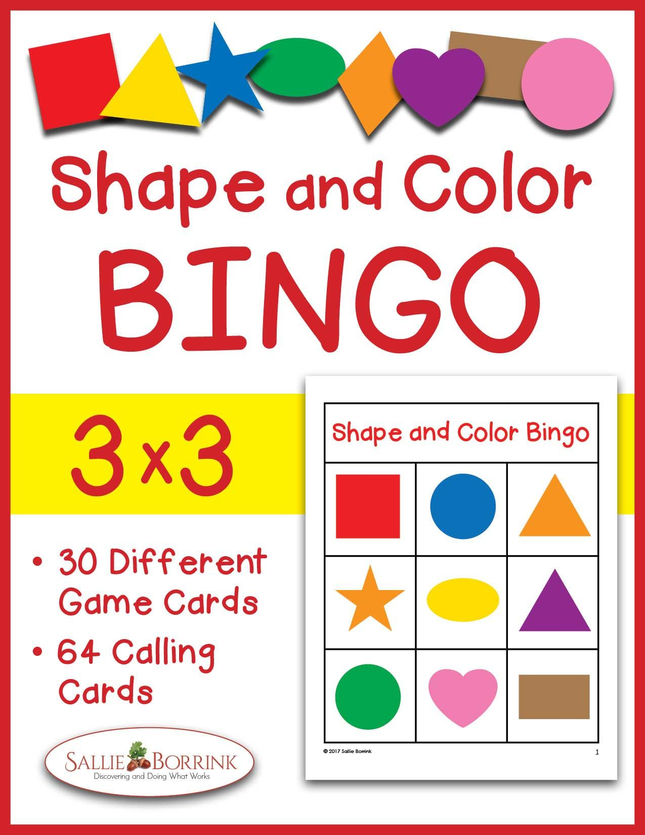 Shapes And Colors Bingo Game Cards 3X3 | Card Games