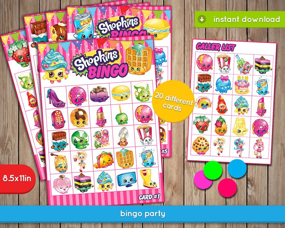 Shopkins Bingo Game - Printable Birthday Party Games