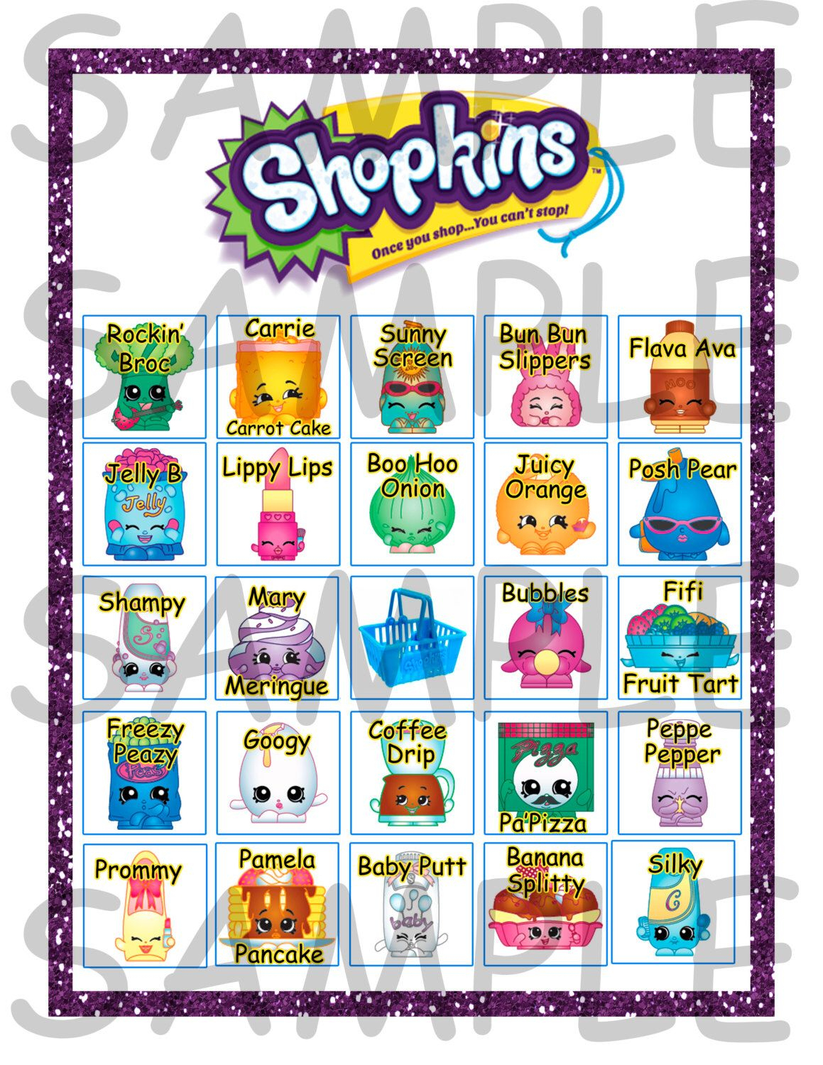 Shopkins Birthday Party Bingo Game 20 Cards **instant