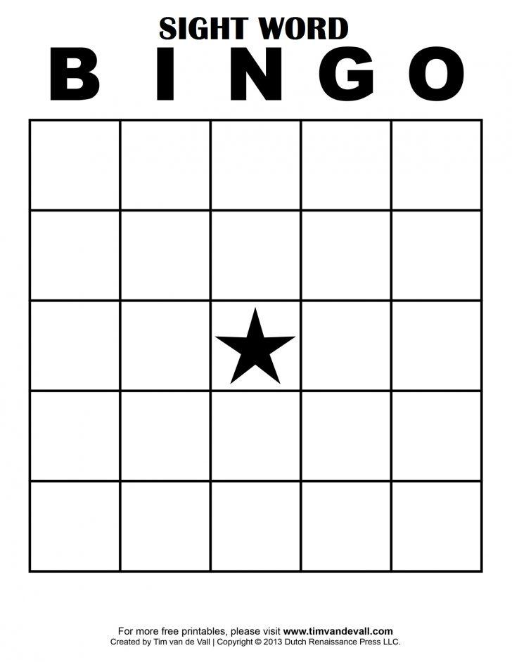Printable Bingo Template Cards