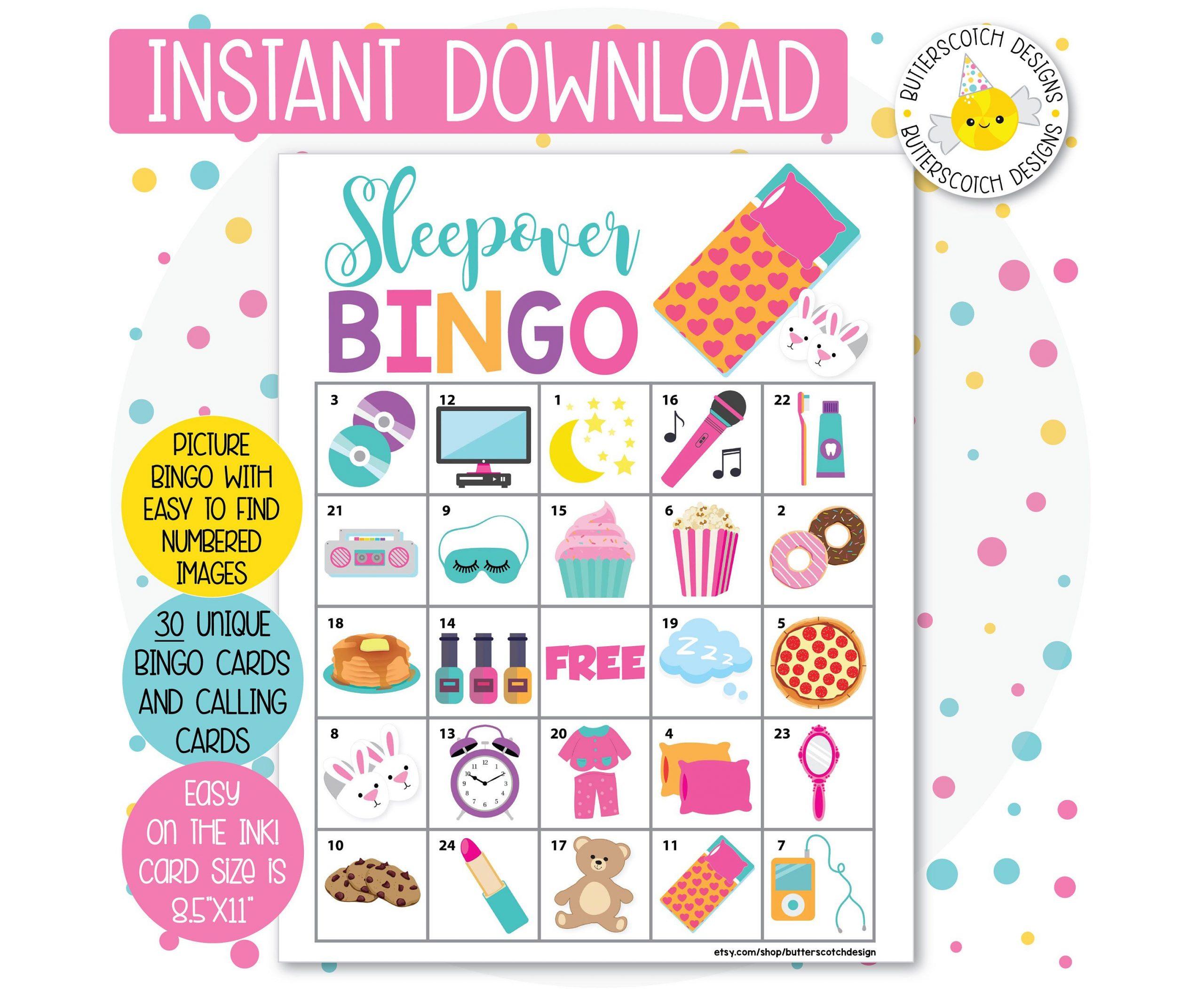 Sleepover / Slumber Party Printable Bingo Cards (30