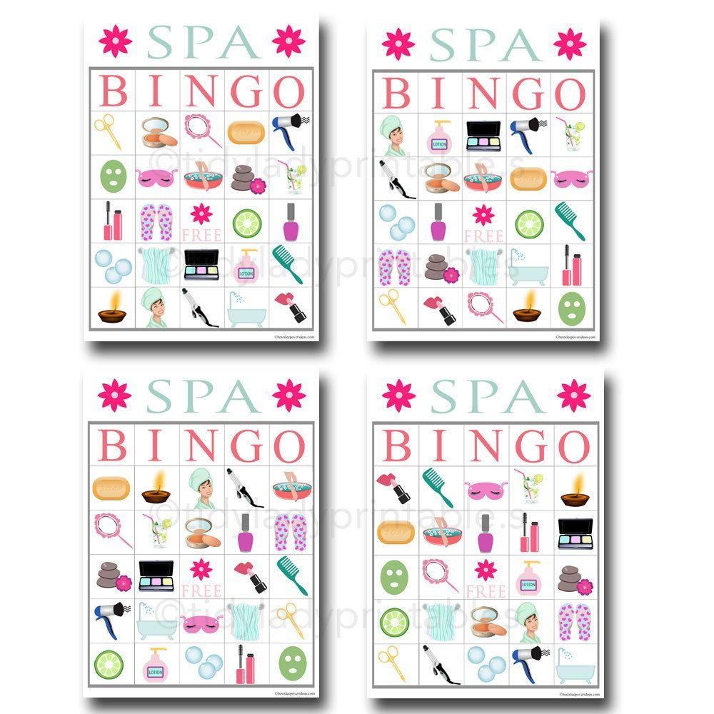 Spa Bingo Printable Game, Girls Party Game, Spa Party