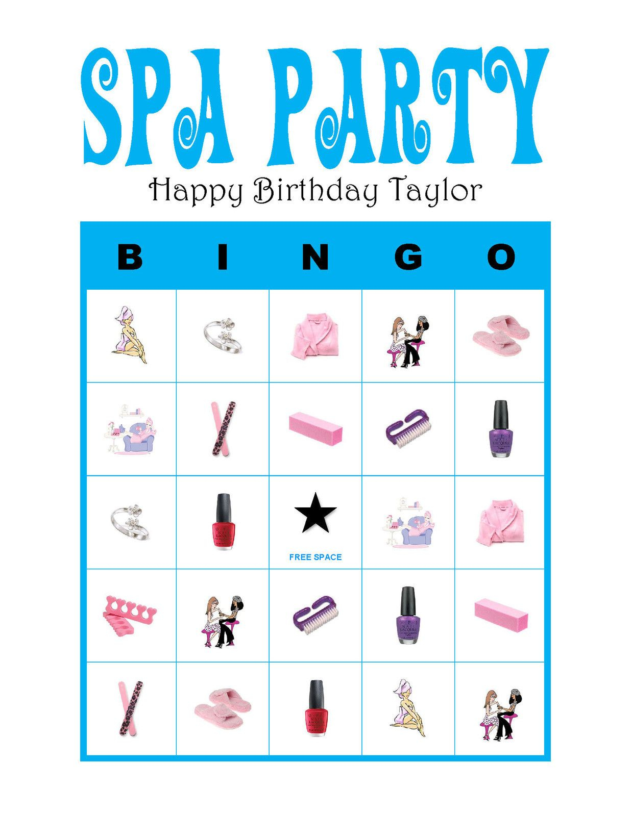 Spa Nail Party Personalized Girl Diva Birthday Party Game