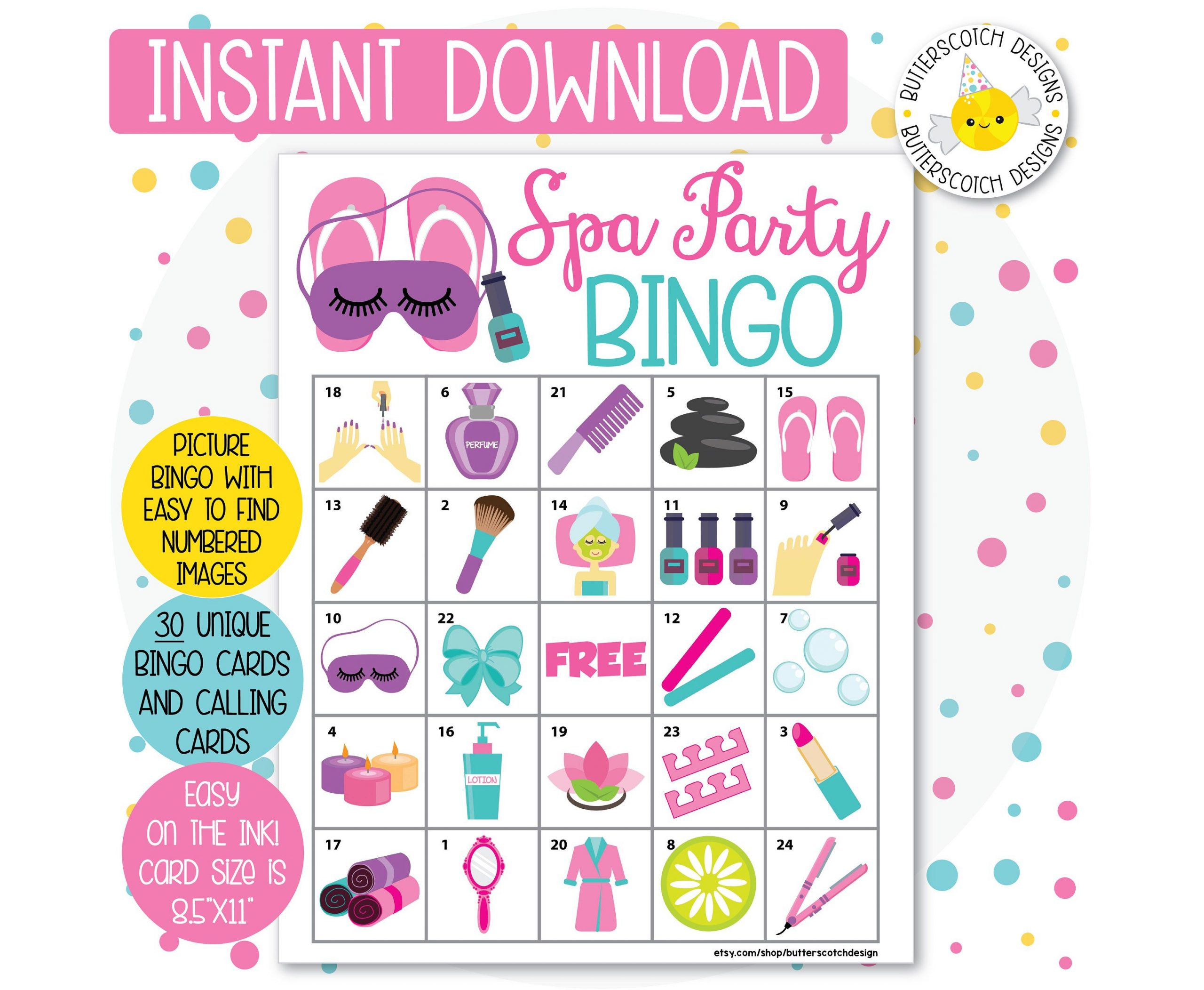 Spa Party Printable Bingo Cards (30 Different Cards