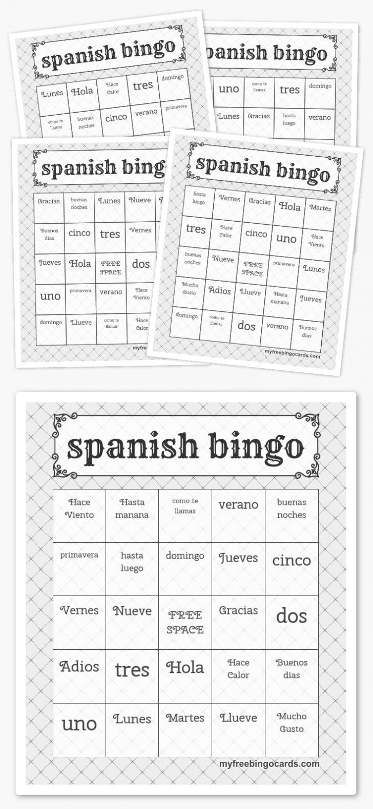 Spanish Bingo Cards Printables
