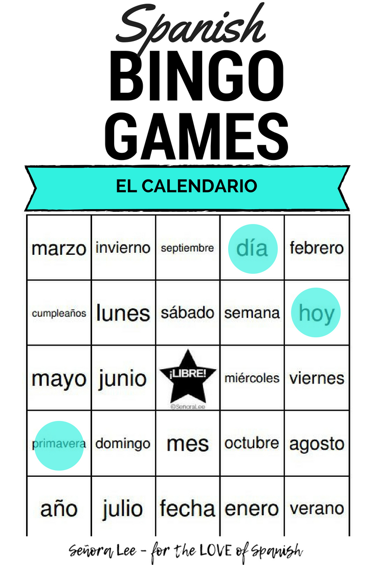 Spanish Calendar Bingo El Calendario | Learning Spanish
