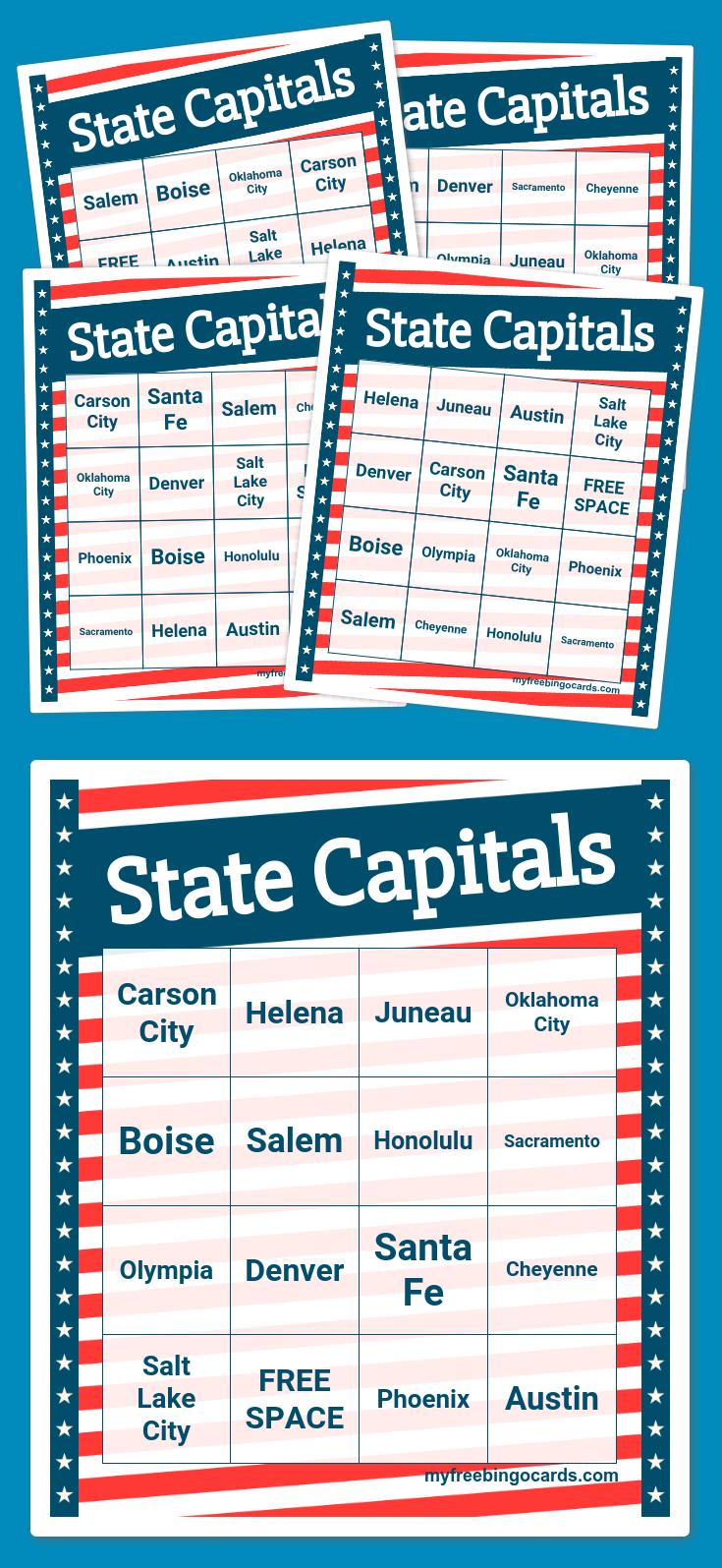 State Capitals Bingo | Free Printable Bingo Cards, Free