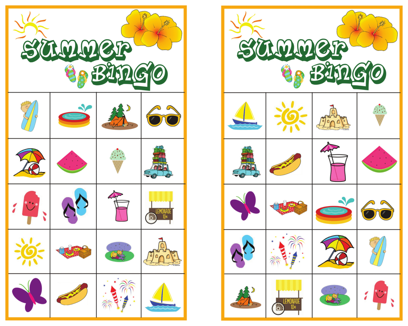 Summer Bingo Game With Free Printables | Bingo, Bingo Games