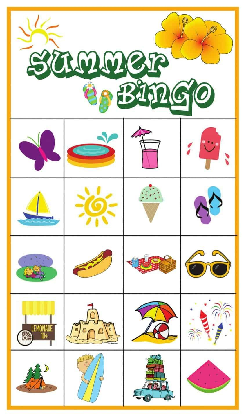 Summer Bingo Game With Free Printables | Bingo Games, Bingo