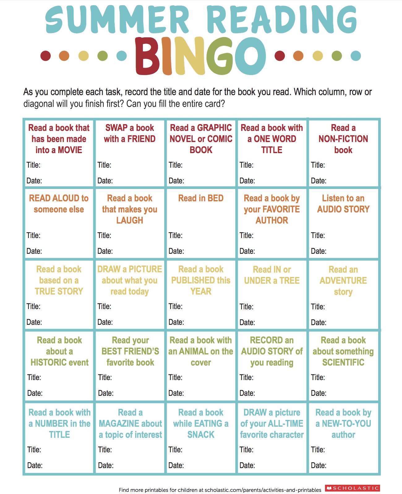 Summer Reading Bingo Printable | Printables: Ages 6-7