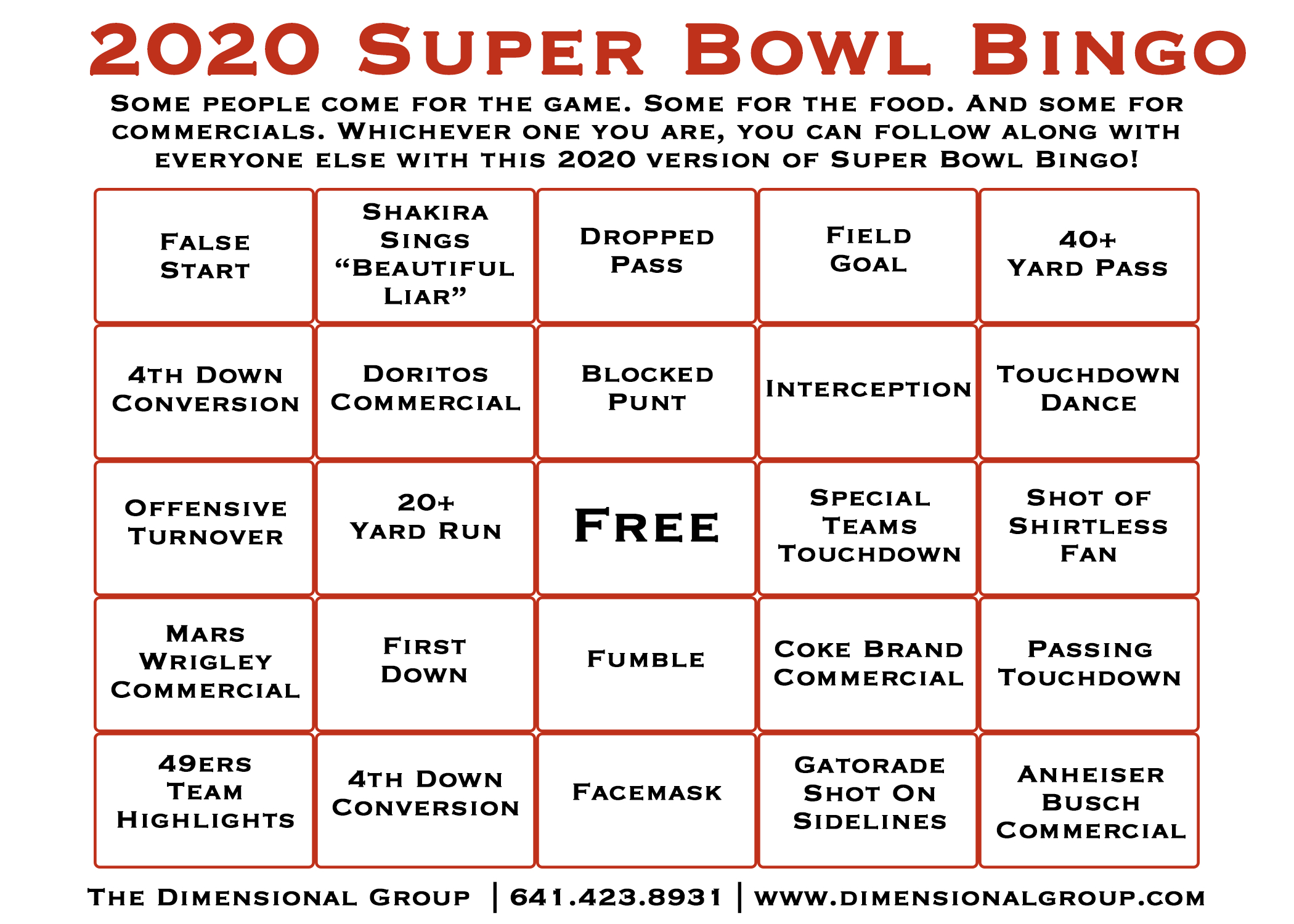 Super Bowl Bingo Cards | The Dimensional Group