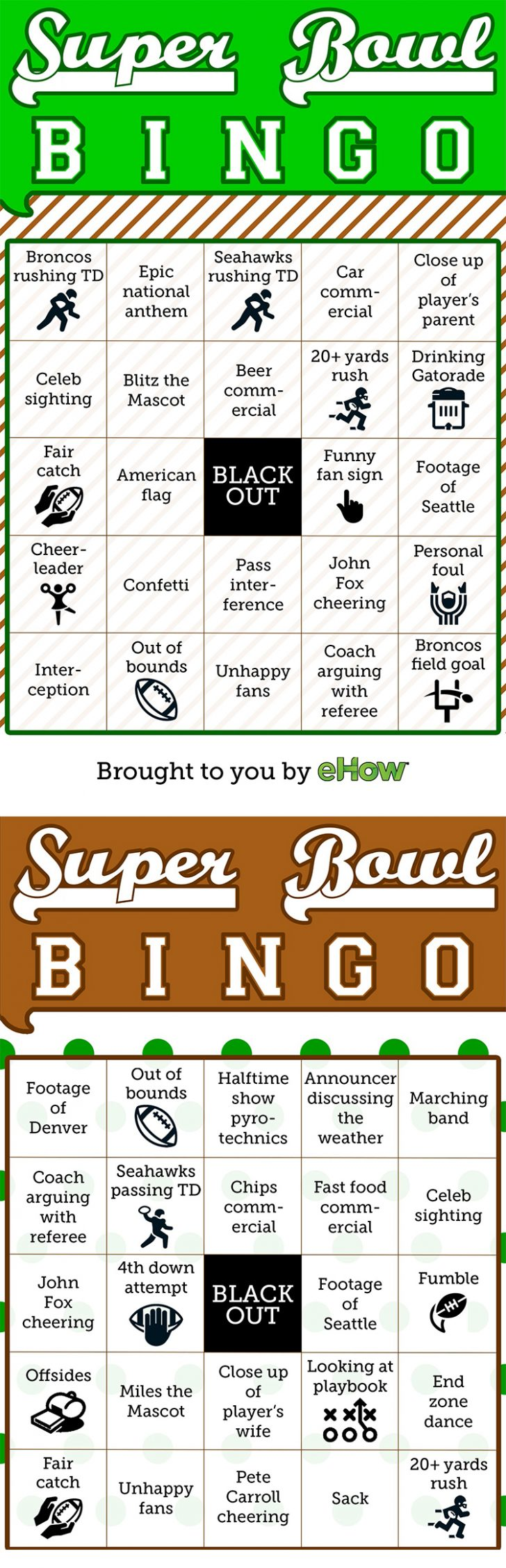 Free Printable Super Bowl Bingo Cards 2015