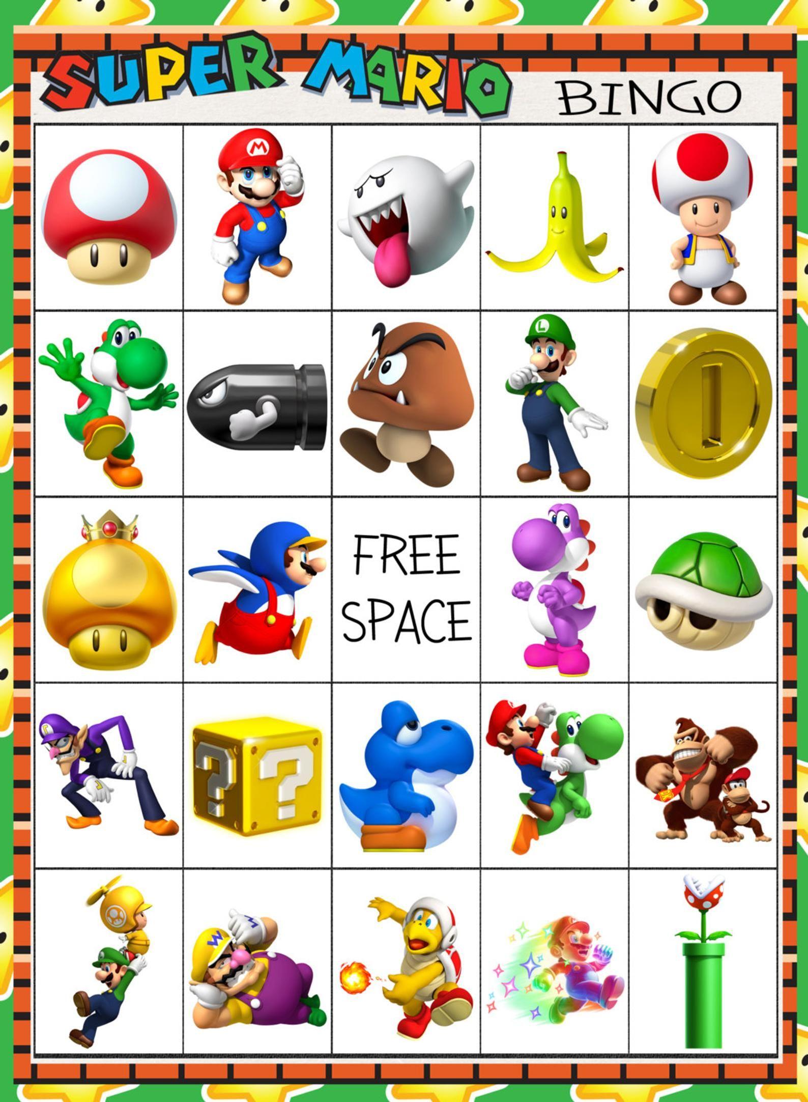 Super Mario Brothers Bingo 10 Card | Etsy | Mario