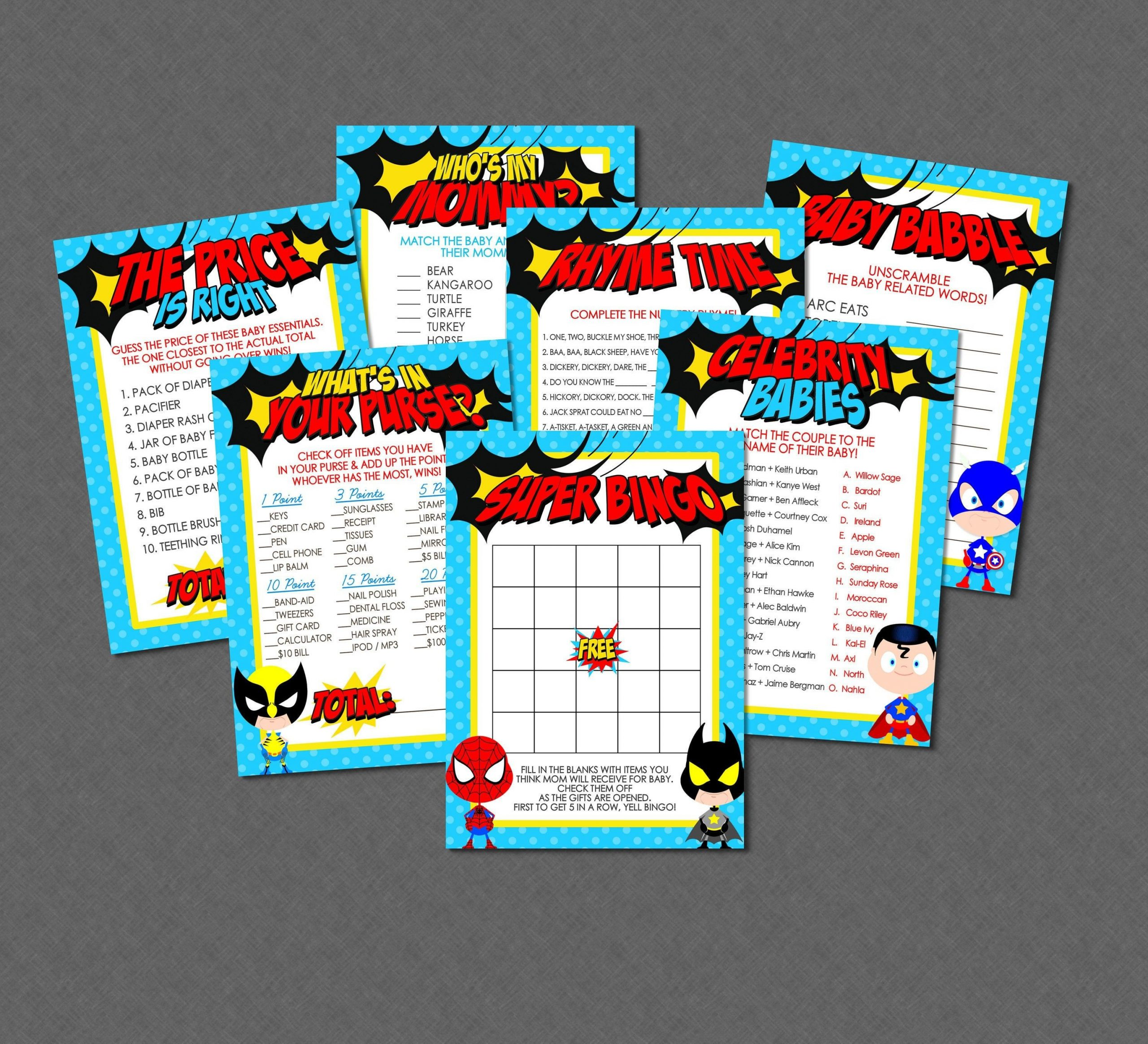 Superhero Baby Shower Game Pack - Instant Download - Super