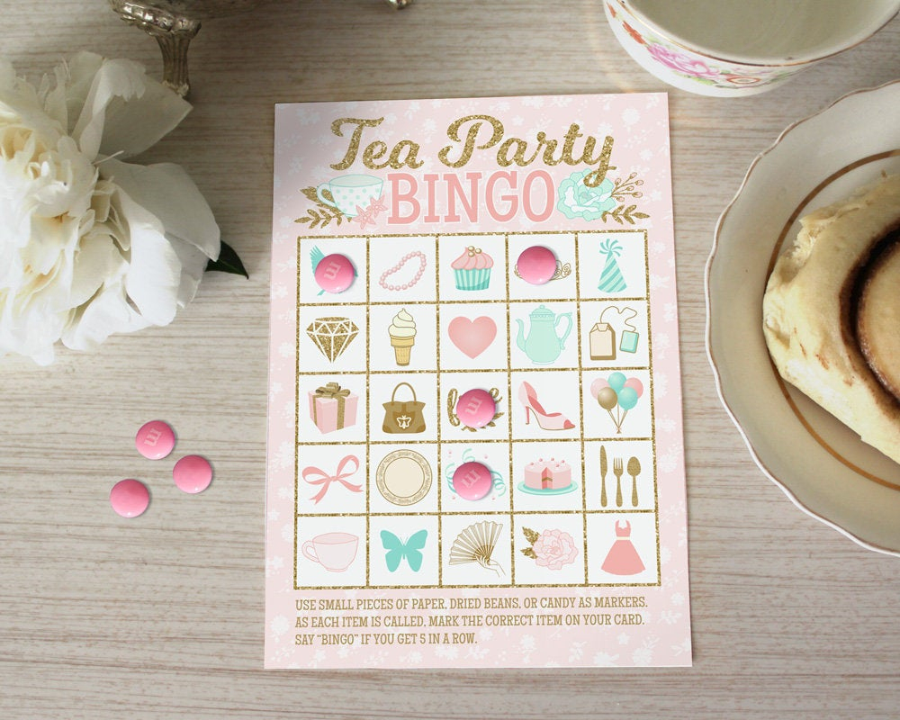 Tea Party Bingo Game - Diy Bingo Cards Printable With 20 Unique Game Cards  - Baby Shower Bridal Shower Birthday Party - Instant Download