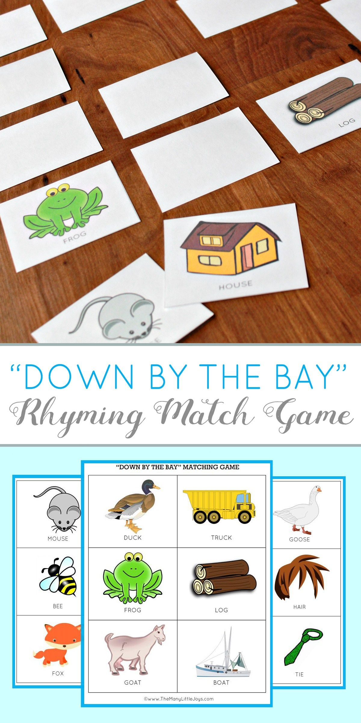 Teaching Kids To Rhyme: Rhyming Match Game (Free Printable