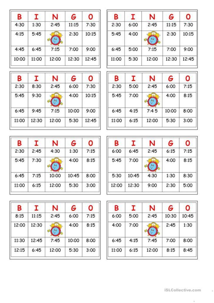 Time Bingo Cards Printable
