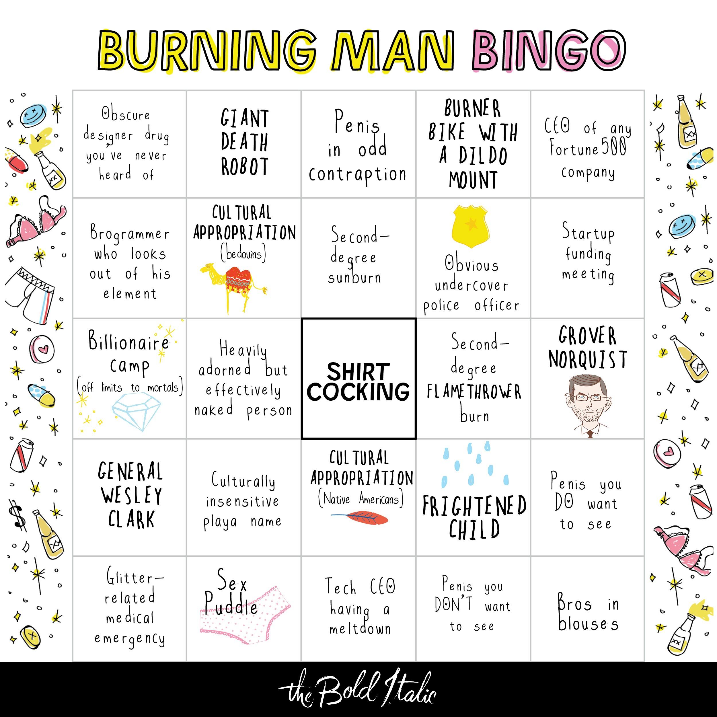 The Burning Man Bingo Card - The Bold Italic