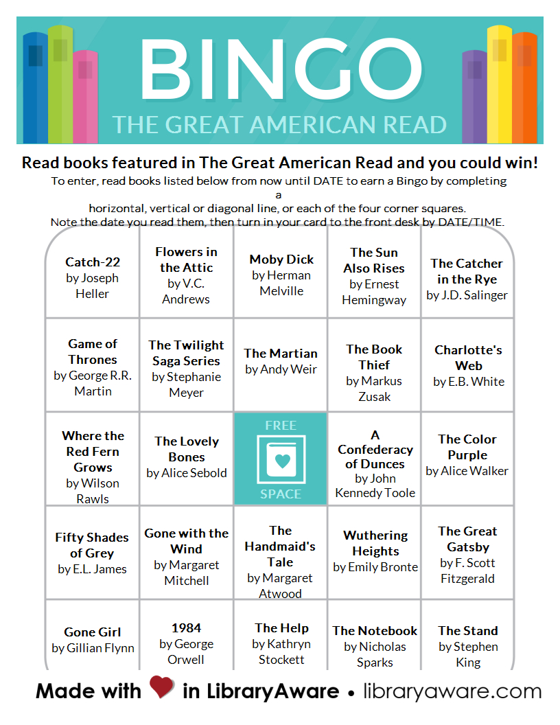 The Great American Read Bingo Cards! This Template Is Now