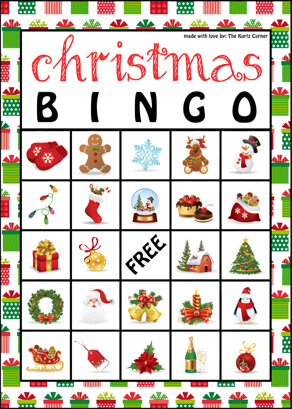 The Kurtz Corner: Free Printable Christmas Bingo Cards