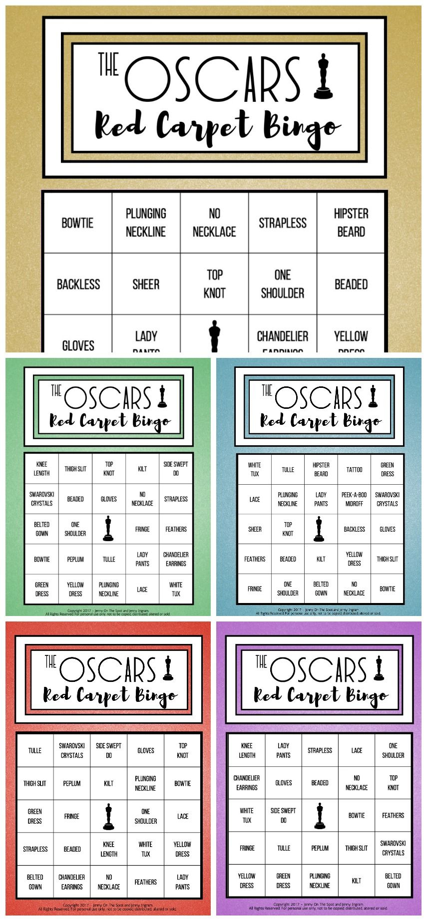 The Oscars Red Carpet Bingo (Free Download!) | Red Carpet