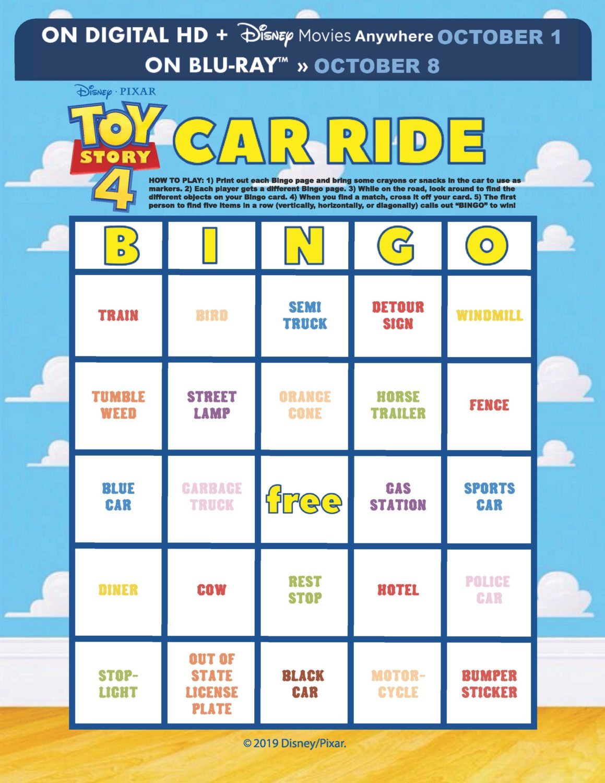 Toy Story 4 Printables - Car Ride Bingo   Crazy Adventures