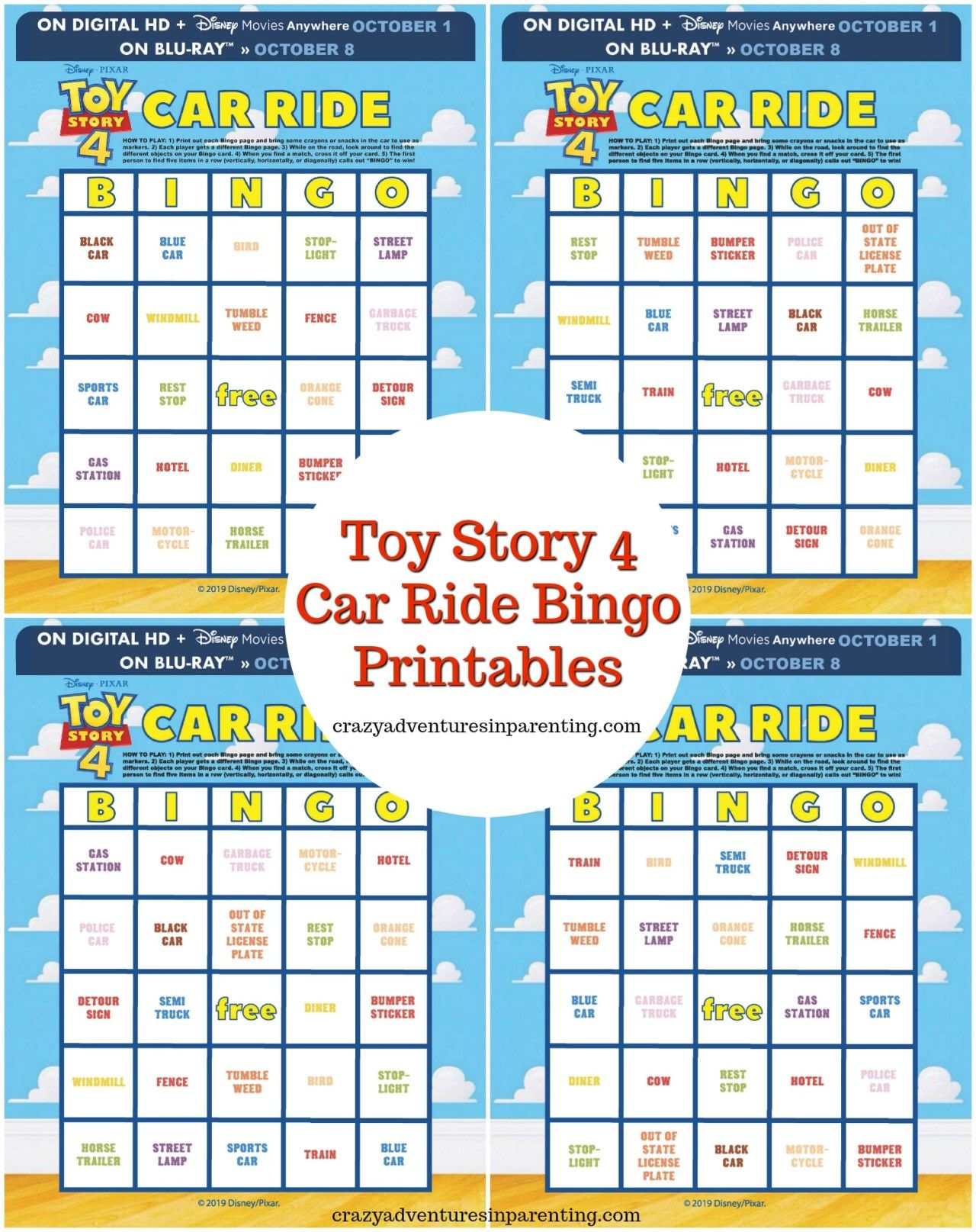 Toy Story 4 Printables – Car Ride Bingo   Toy Story, Bingo