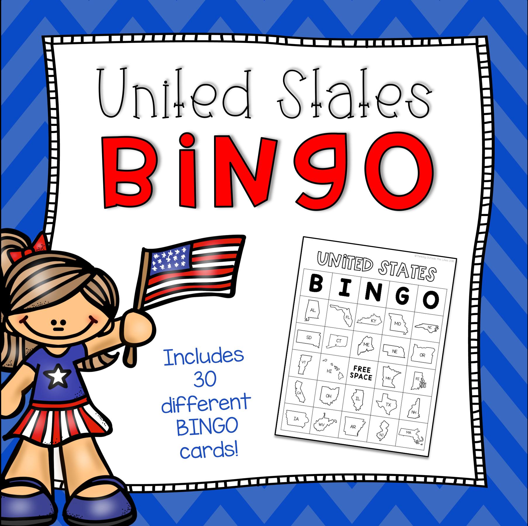 United States Bingo | Bingo, States, Capitals, Bingo Cards