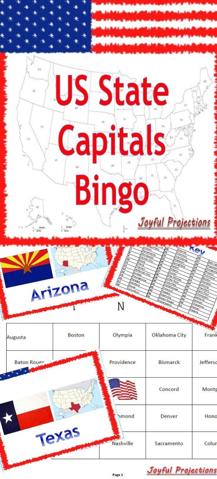 United States - Capitals Bingo! Classroom Activity W/ 35