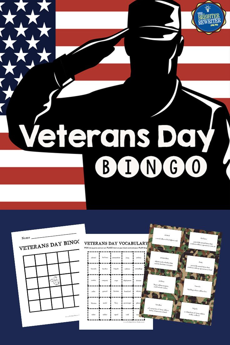 Veterans Day Vocabulary Bingo | Veterans Day, Bingo, Bingo Cards
